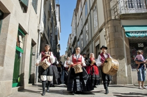 Galician musicians march to traditional music on Santiago's street in honor of Saint James Day on July 25 Camino Uwalk