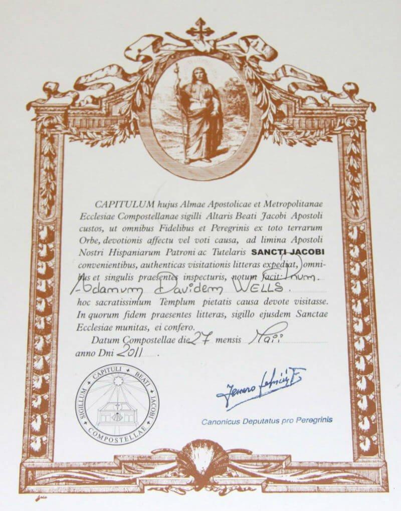 Certificate La Compostela